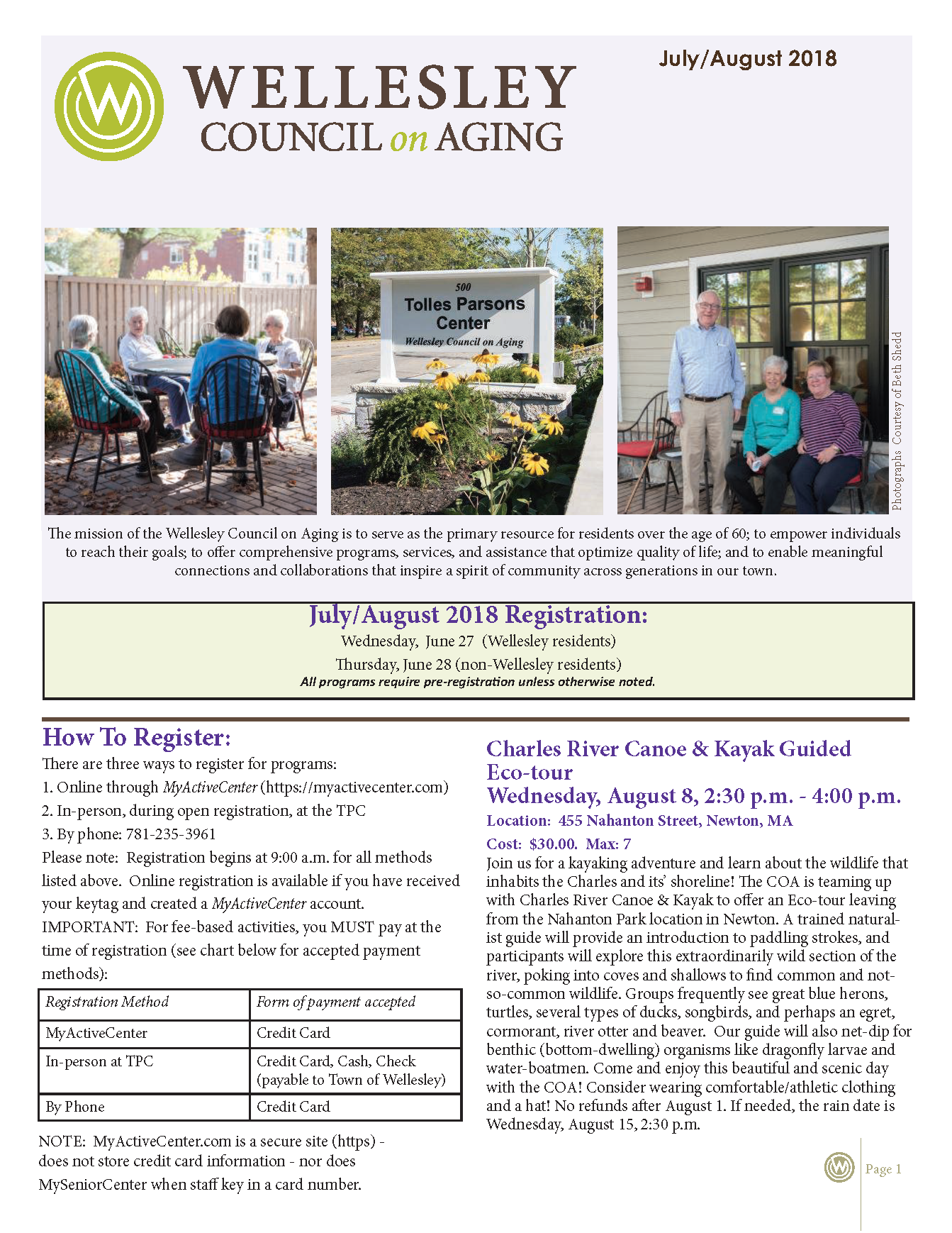 July August 2018 Newsletter Cover