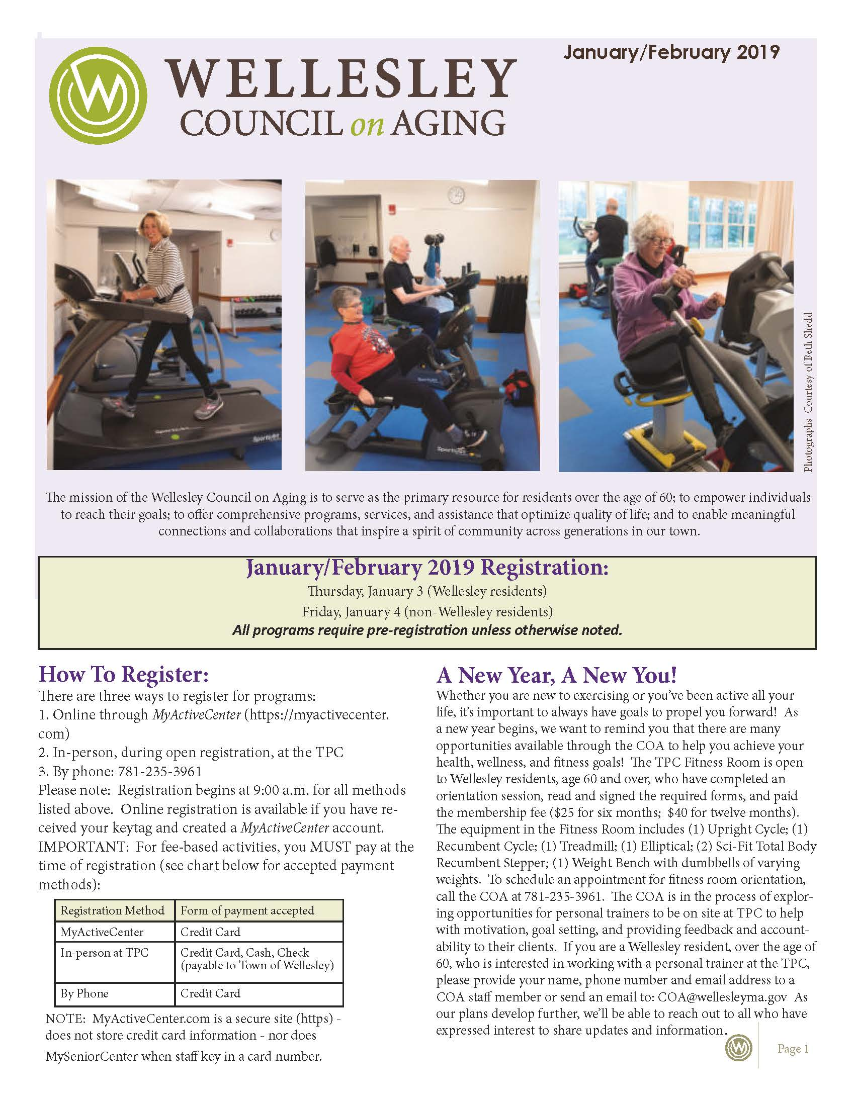 January February 2019 Newsletter Front Cover