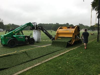 Removing TPE sand infill from the turf (figure 1)