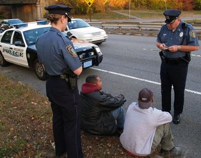 Officer interview two defendants with warrants on Route 9.