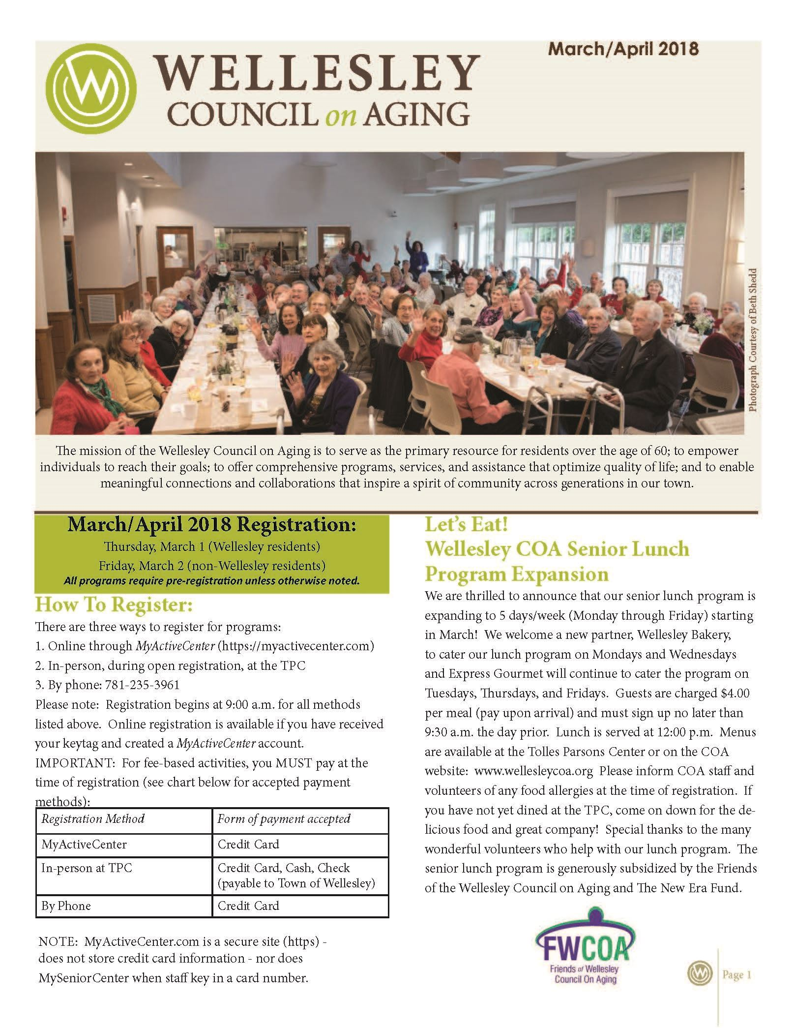 March April 2018 Newsletter Front Cover