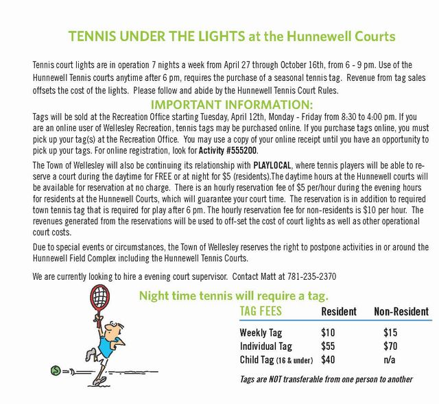 Tennis Under the Lights at Hunnewell Courts