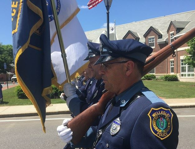 Officer Amalfi marches with the Honor Guard