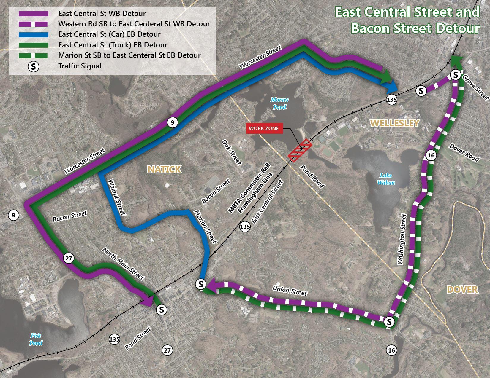 MBTA E Central St Bacon St Detour Map