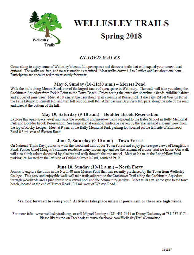 Guided Walks Flyer Spring 2018